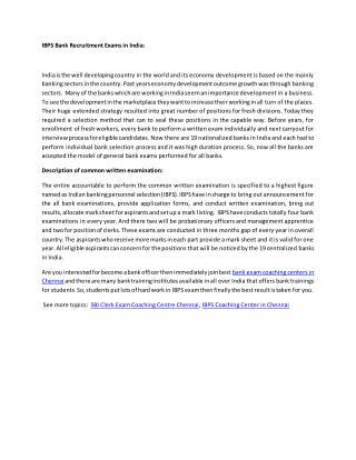 IBPS Bank Recruitment Exams in India
