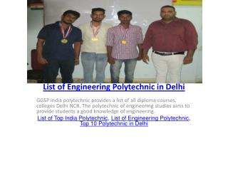 List of Engineering Polytechnic in Delhi