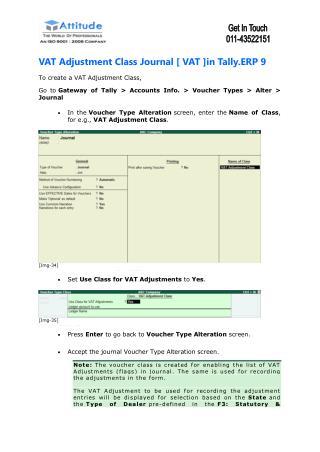 VAT Adjustment in Tally ERP 9