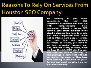 Reasons To Rely On Services From Houston SEO Company