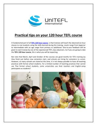 Practical tips on your 120 hour TEFL course