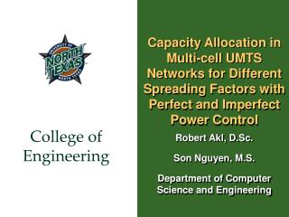 Capacity Allocation in Multi-cell UMTS Networks for Different Spreading Factors with Perfect and Imperfect Power Control