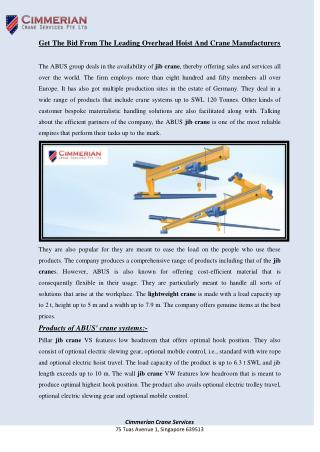 Get The Bid From The Leading Overhead Hoist And Crane Manufacturers
