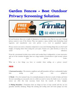 Garden Fences - Best Outdoor Privacy Screening Solution