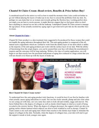 Chantel St Claire Cream :Read review, Benefits & Price before Buy!