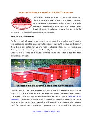 Benefits of Roll Off Containers