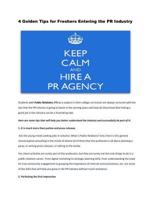 4 golden tips for freshers entering the PR industry (seo tycc)