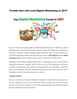 Digital marketing trends for the year 2017