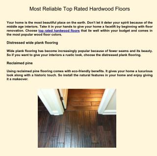Most Reliable Hardwood Flooring BrandS