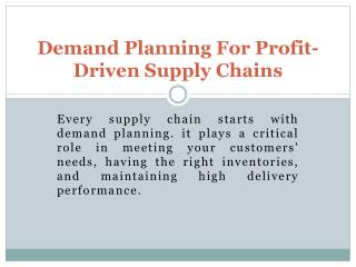 Adexa's applications from demand planning to supply chain planning
