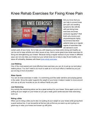 11 Knee rehab exercises to fix knee pain