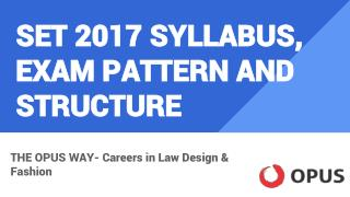 SET 2017 Syllabus, Exam pattern and Structure