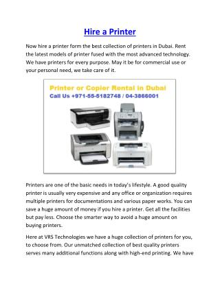 Rent a Photocopier Dubai - Printer - Copier Rent