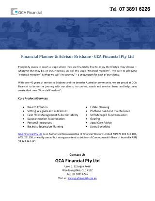 Financial Planner & Advisor Brisbane - GCA Financial Pty Ltd