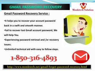 How to do Gmail Password Recovery 1-850- 316-4893?
