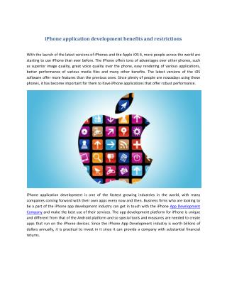 iPhone application development benefits and restrictions