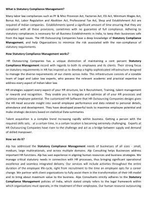 Statutory Compliance Management