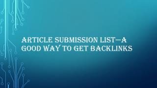 Article submission list—a good way to get backlinks