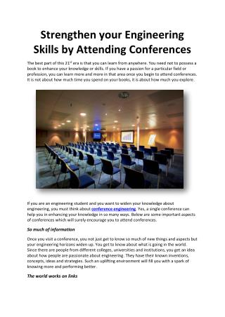 Strengthen your Engineering Skills by Attending Conferences