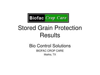 Stored Grain Protection Results