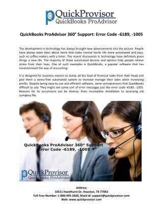 QuickBooks ProAdvisor 360° Support: Error Code -6189, -1005