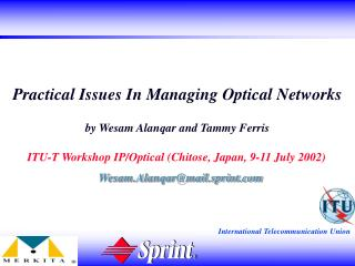 Practical Issues In Managing Optical Networks  by Wesam Alanqar and Tammy Ferris
