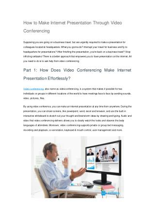 How to Make Internet Presentation Through Video Conferencing