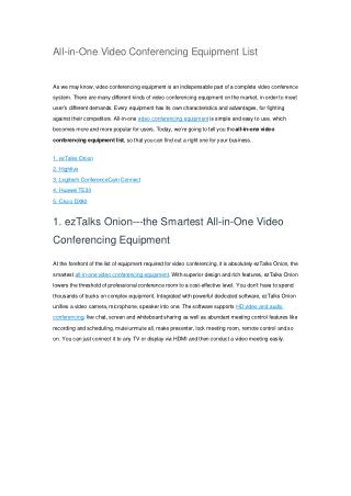 All-in-One Video Conferencing Equipment List