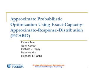 Approximate Probabilistic Optimization Using Exact-Capacity-Approximate-Response-Distribution ECARD