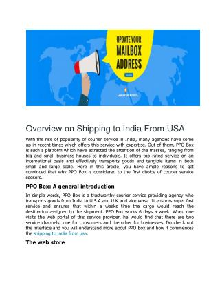Overview on Shipping to India from USA