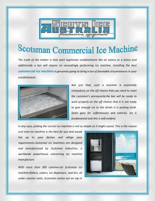 Scotsman Commercial Ice Machine