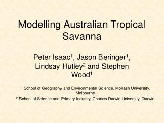 Modelling Australian Tropical Savanna