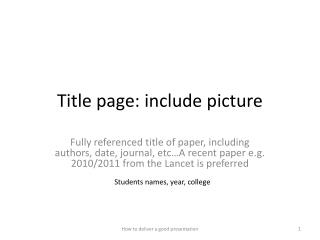 Title page: include picture