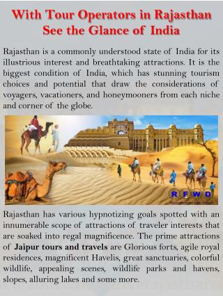 With Tour Operators in Rajasthan See the Glance of India