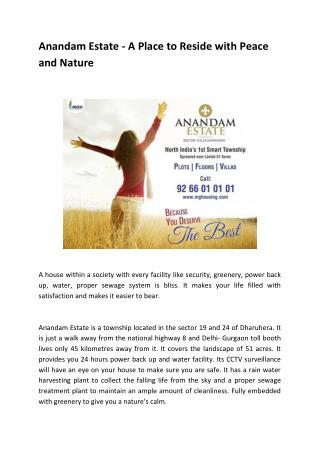 Anandam Estate - A Place to Reside with Peaceand Nature