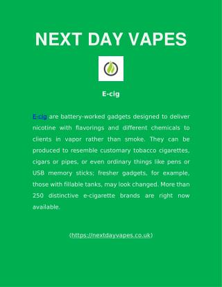 E-Cigs - Next Day Vapes