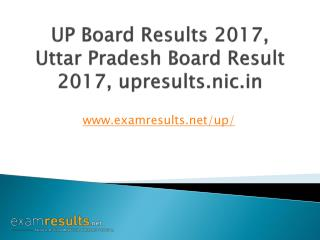 UP Board Results 2017, UP Board 10th Results, UP Board 12th Results