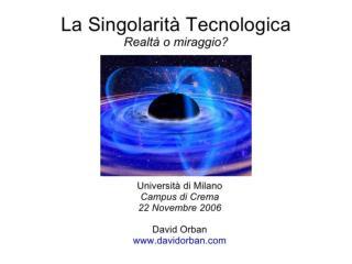 La Singolarità Tecnologica - David Orban