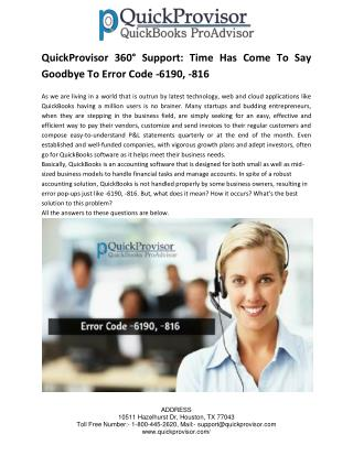 QuickProvisor 360° Support: Time Has Come To Say Goodbye To Error Code -6190, -816