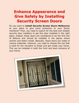 Enhance Appearance and Give Safety by Installing Security Screen Doors