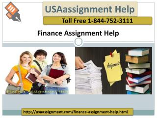 Finance Assignment Help | Toll Free: 1-844-752-3111