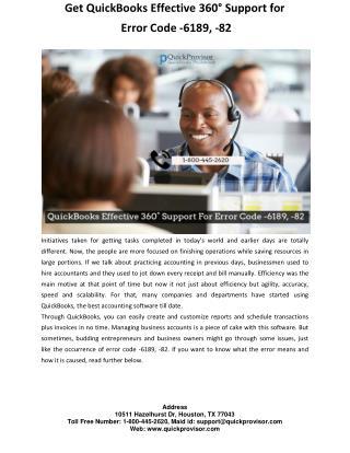 Get QuickBooks Effective 360° Support for  Error Code -6189, -82