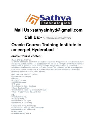 Oracle Course Training Institute in ameerpet,Hyderabad