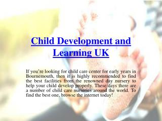 Looking for Early Childhood Learning Center UK