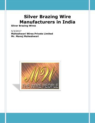 Silver Brazing Wire Manufacturers in India