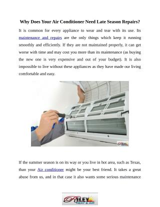 Why Is Late Season Air Conditioner Repair Important?