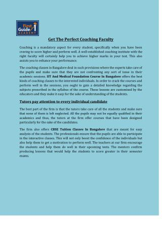 Get The Perfect Coaching Faculty