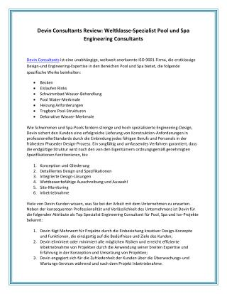 Devin Consultants Review: Weltklasse-Spezialist Pool und Spa Engineering Consultants