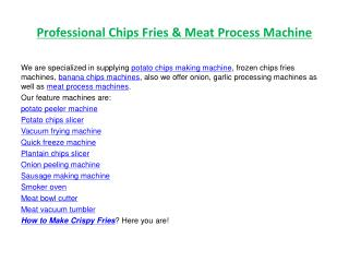 Professoinal Chips Fries & Meat Process Machine