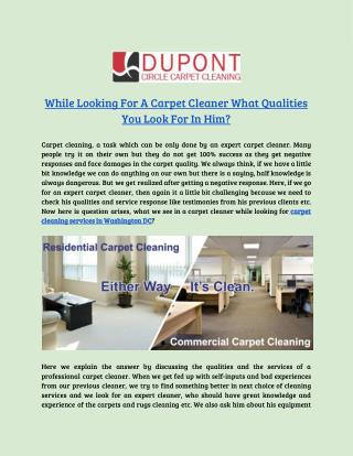Get More Reliable Carpet Cleaning Service in Washington, DC